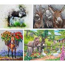 Diy Diamond Embroidery Painting Art-Picture Cross-Stitch Christmas-Room-Decor Gift Donkey