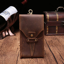 BISI GORO 2019 Genuine Leather Waist Bag Designer Crazy Horse Belt Phone Pouch Fanny Pack Creative Gift