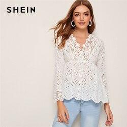 SHEIN белая блузка с v-образным вырезом и вышивкой, с петлей, с баской, женские топы 2019, Осенние праздничные блузки с длинными рукавами и оборкам...