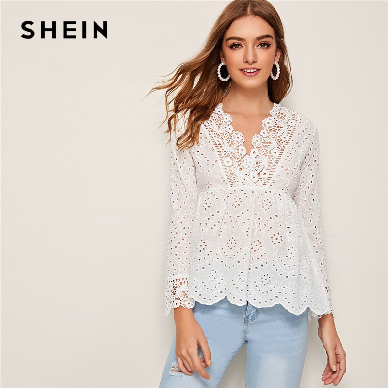 SHEIN White V Neck Solid Eyelet Embroidery Peplum Blouse Women Tops 2019 Autumn Holiday Long Sleeve Ruffle Hem Boho Blouses