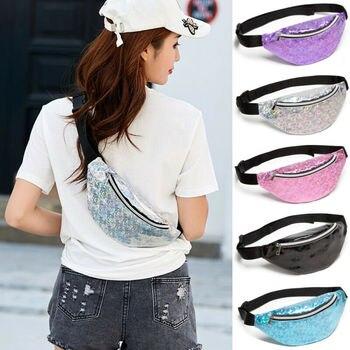 2020 Newest Hot Lady Girl Waist Fanny Pack Belt Bag Pouch Travel Hip Bum Bag Women Small Purse Glitter Laser Leather Waist Packs