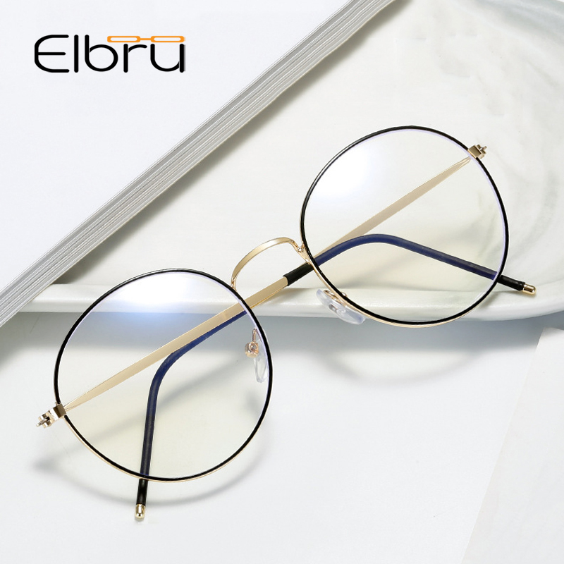 Elbru Vintage Retro Round Metal Spectacles Frame Women Men Anti Blue Light Ray Blocking Eye Glasses Frames Clear Lens Eyewear