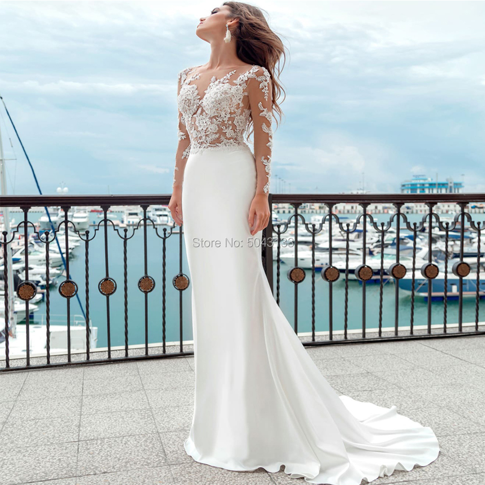 Long Sleeve Mermaid Wedding Dresses Sheer Scoop Neckline Applique Satin Bride Dress Buttons Back Boho Wedding Gowns 2020 Brides