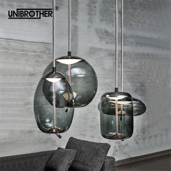 glass LED Hanging lamp pendant lighs hemp rope artificial Wrought Round Ball living room coffee kitchen Nordic lighting