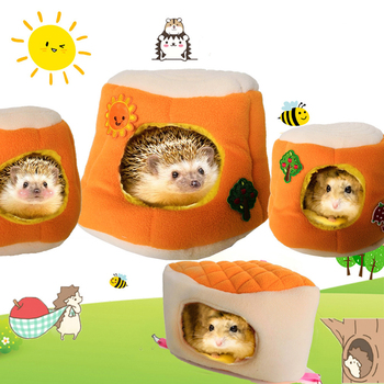 Warm Cotton Tree Stool Bread Shape Small Pet Squirrel Parrot Sugar Glider Hanging Cage Hamster Cage Bed House Hedgehog Nest Toy