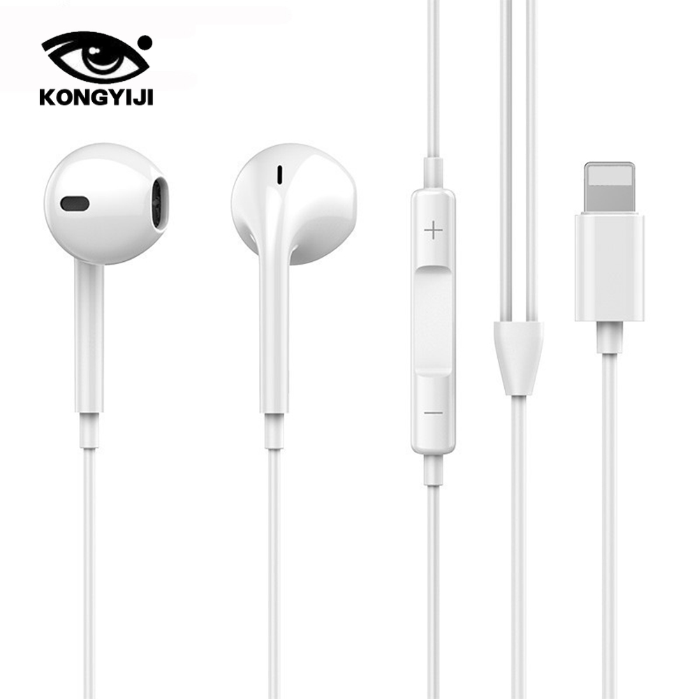 Wired Headphones With Microphone Copper Loop Stereo Control For 8 7 Plus X XR XS Max  Earphone  Headphones