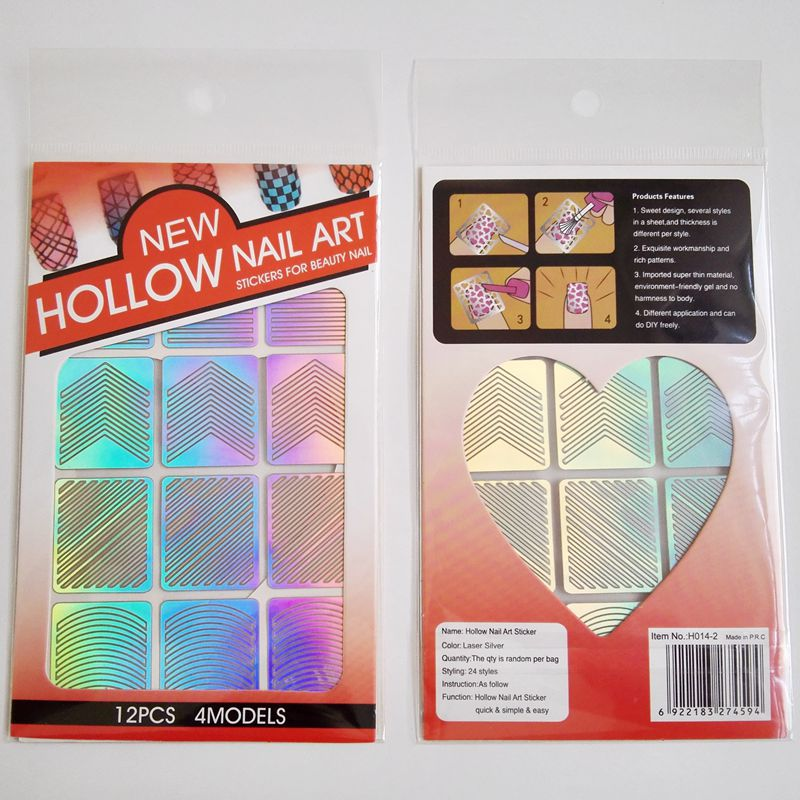 Manicure Hollow Out Adhesive Paper Nail Polish Printing Template Hollow Coloured Drawing Stickers DIY Manicure Stencil