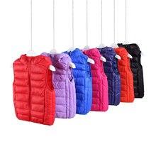 3-16years crianças para baixo algodão colete outono inverno bebê meninas meninos do bebê fino colete quente kf05
