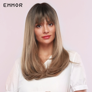 EMMOR Long Natural Wave Black to Light Brown Ombre Hair Wig with Bangs for Black White Women Daily Use fluffy Synthetic Wigs emmor natural wave synthetic hair wigs for women high temperature cosplay costume party daily use ombre dark brown wig