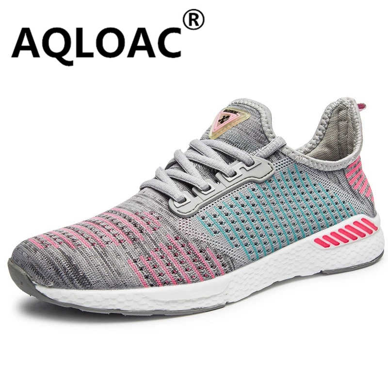 AQLOAC легкая обувь для бега, мужская и женская дышащая удобная вязаная прогулочная обувь, кроссовки для бега, размеры 36-46