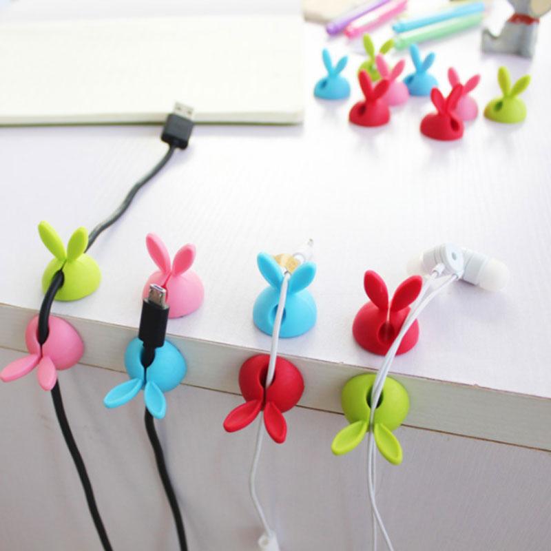 4pcs/bag Winder Wrap Cord Cable Storage Desk Set Rabbit Shaped Wire Clip Organizer Space Saving Desk Accessories Office Supplie