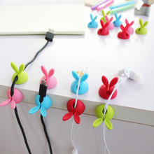 4pcs/bag Winder Wrap Cord Cable Storage Desk Set Rabbit Shap