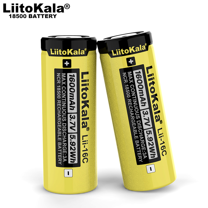 1-20PCS LiitoKala Lii-16C 18500 1600mAh 3.7 V rechargeable battery Recarregavel lithium ion battery for LED flashlight image