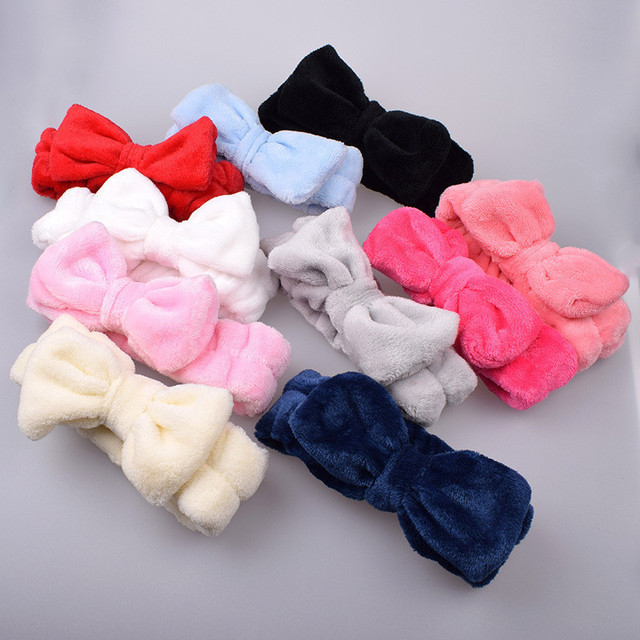 Flannel Cosmetic Headbands Soft Bowknot Elastic Hair Band Hairlace for Washing Face Shower Spa Makeup Tools 5