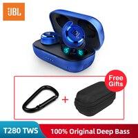 JBL T280 TWS Bluetooth Беспроводные наушники с зарядным чехлом наушники спортивные наушники для бега музыка IPX5 водонепроницаемые с микрофоном