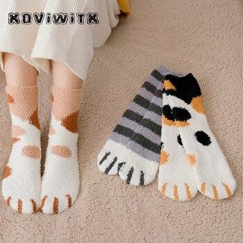 Fashion womens Cats Paw stripe 3d Socks Cute Funny Thick Girls Cartoon Animal Fingers Sock Hosiery Toe Zebra/Tiger/Cat Foot Sox - discount item  30% OFF Women's Socks & Hosiery
