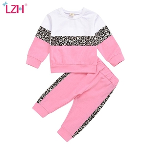 LZH New 2020 Fashion Splicing Autumn Suits Leopard Baby Girls Sportswear 2Pcs Sets Cotton Children Loose Sport Clothes 1-5 Years