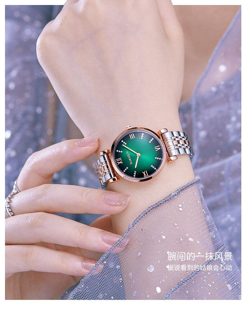 Woman Watch 2019 GUANQIN GS19122 Quartz Luxury Brand Ladies Watch Green Waterproof Simple Fashion Wrist Watch Tool Dropshipping (1)
