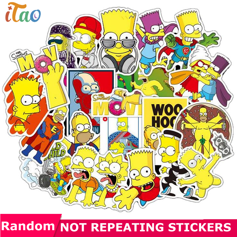 10/20/30/40/50PCS Cartoon Simpsons Stickers Waterproof PVC Skateboard Laptop Luggage Snowboard Guitar Scrapbook Sticker Kids Toy