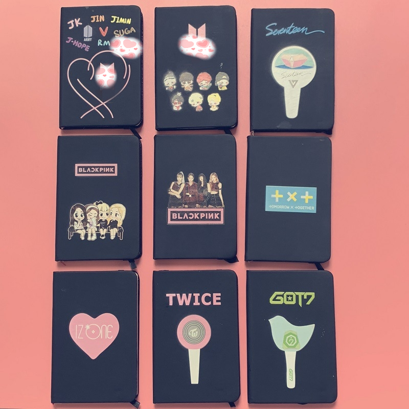 10 Pcs/lot KPOP Jimin Suga Jungkook Jhope Cartoon Notebook Blackpink Got7 Twice Izone Txt Diary Pocketbook Toy Gift