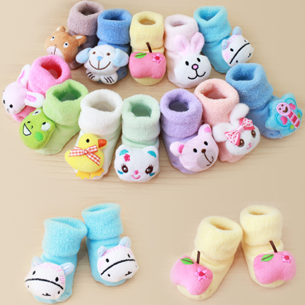 1 Pair 0-1Y Cartoon Animal Print Baby Socks Anti Slip Spring Autumn Kids Boys Girls Socks With Rubber Cartoon Newborn Sock