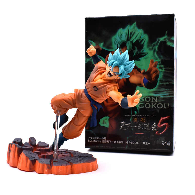 2019 New 16cm Dragon Ball Z Blue Hair Son Goku Cartoon Anime Action Figures Mini Doll PVC Collection Model Gift For Kids