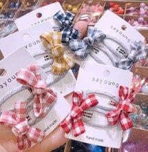 Children Girl Kids Hair clips Set Korean Japan Plaid Bow Knot Cute BB Hairpin Head wear Accessories-SWC5-W2
