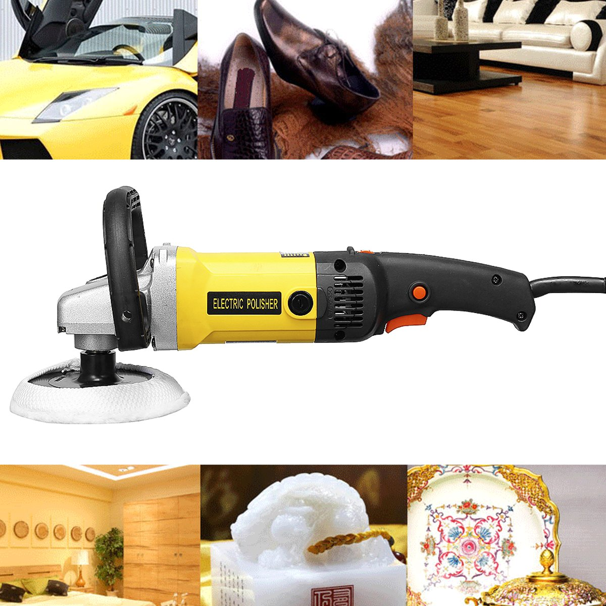 Grinder Mini Polishing Machine Car Polisher Sanding Machine Orbit Polish Adjustable Speed Sanding Waxing Power Tools 1200W 110V