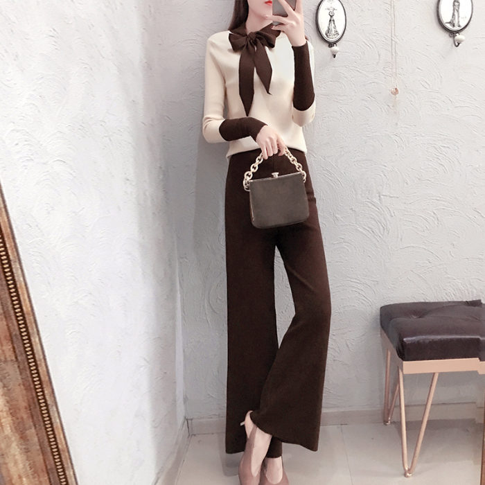 2019 Autumn Winter Knitted 2 Piece Sets Outfits Women Lace-up Sweater Pullover And Wide Leg Pants Suits Elegant Korean Sets 22