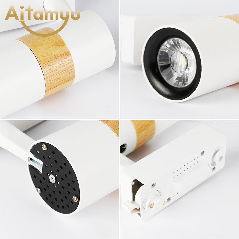 Modern wood LED Track Light 5W COB Rail Spotlights Lamp Leds Tracking Fixture Lights for Store Shop Mall Exhibition lamp in Track Lighting from Lights Lighting