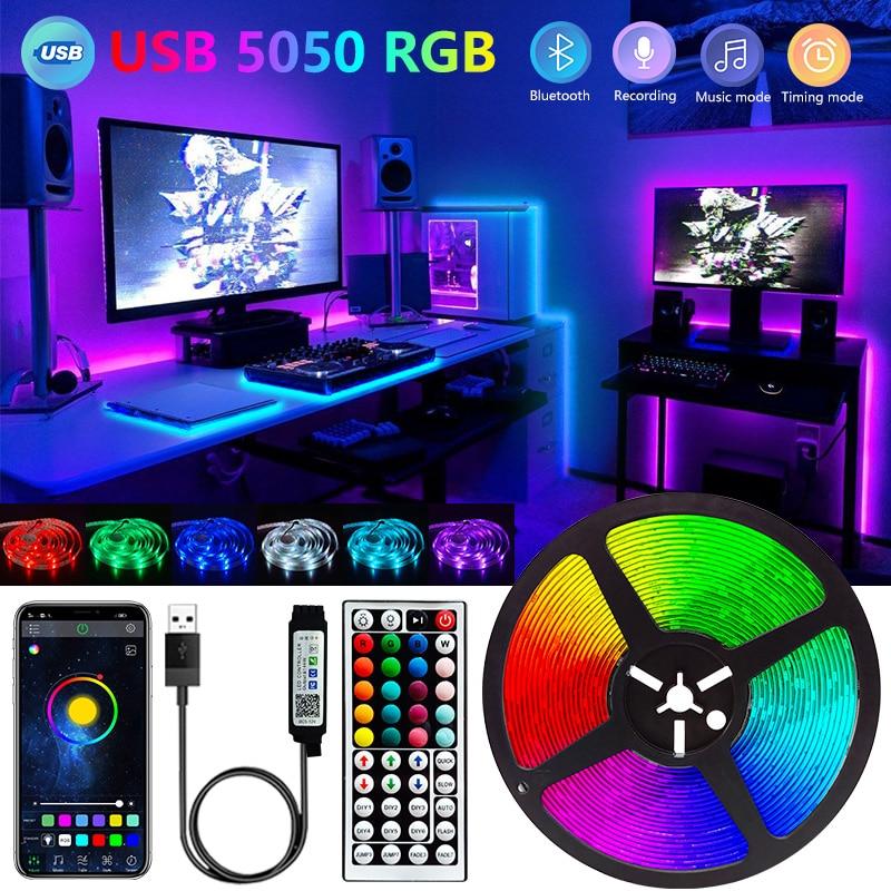 Bluetooth Светодиодные ленты светильник 1M-30 5050 USB 5V RGB светильник s гибкие светодиодные лампы лента RGB ТВ Настольный Экран задняя светильник Диодн...