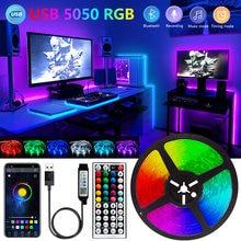 Bluetooth conduziu a luz de tira 1m-30 5050 luzes usb 5v rgb flexível conduziu a fita da lâmpada fita rgb tv desktop tela luz de fundo fita do diodo