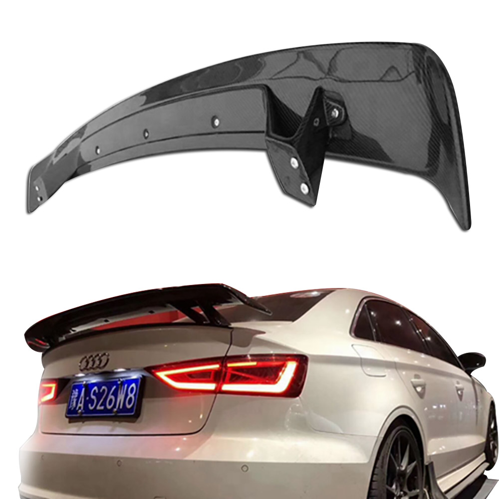 Car Styling Exterior Carbon Fiber Modified Rear Spoiler Tail Trunk Lip Wing Decoration Fit For Audi A3 S3 4 Doors 2014 2015 2016