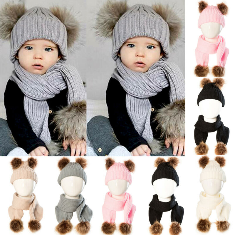 Toddler Kids Girl Boy Baby Infant Winter Crochet Knit Hat Beanie Cap Scarf Set Pom Solid Child Hats