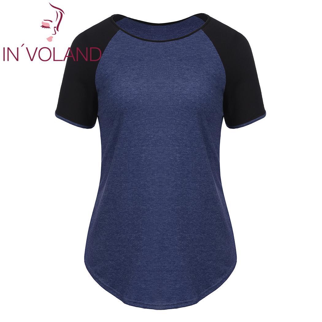 Женская Повседневная летняя футболка размера плюс с круглым вырезом и коротким рукавом, Лоскутная свободная футболка