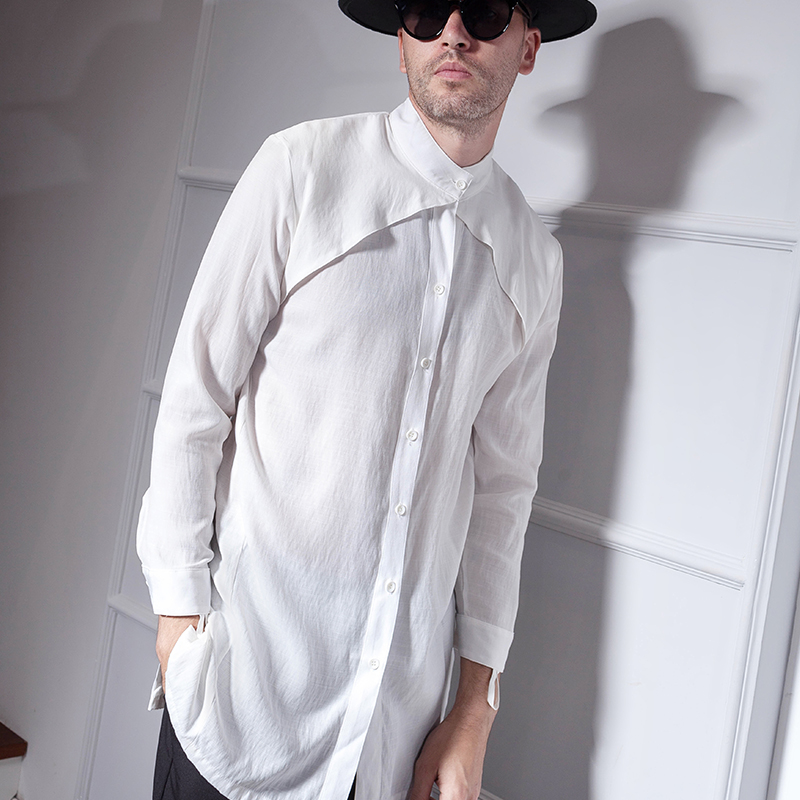 Long-sleeved Shirt Men Slim Chic Korean Trend Shirt Men's Fashion Net Red Stand Collar Wear Large-sized Trend In The Long