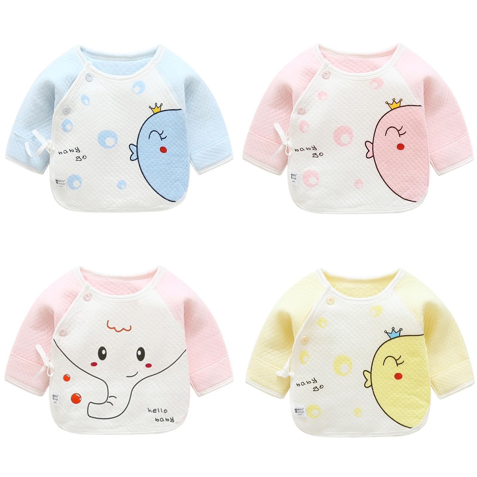 Spring Winter Newborns 0-3 M Baby Clothing 100% Cotton Baby Blouses Half-back Boy Girl Premature Baby Full Sleeve Shirts Summer