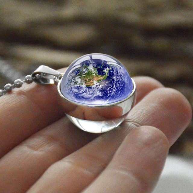 Personality Fashion Double Side Glass Ball Necklace Earth Planet Pattern Jewelry