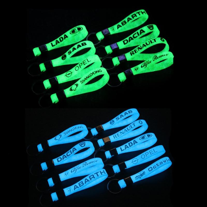 Car Styling Luminous Silicone Sticker For Toyota Fiat Opel Kia Skoda Octovia Dacia Peugeot Ford Focus Alfa Key Ring Accessories