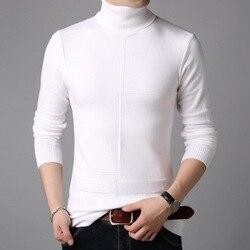Pull tricoté blanc à col roulé pour homme, vêtement décontracté, moulant, classique, treillis solide, tendance
