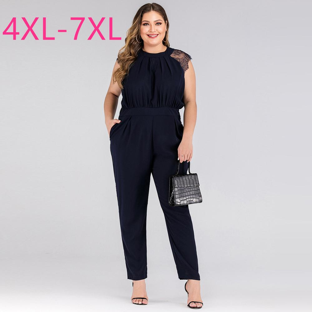 2020 Fashion Summer Plus Size Jumpsuit For Women Large Loose Casual Sleeveless Lace O Neck Long Jumpsuits Black 4XL 5XL 6XL 7XL