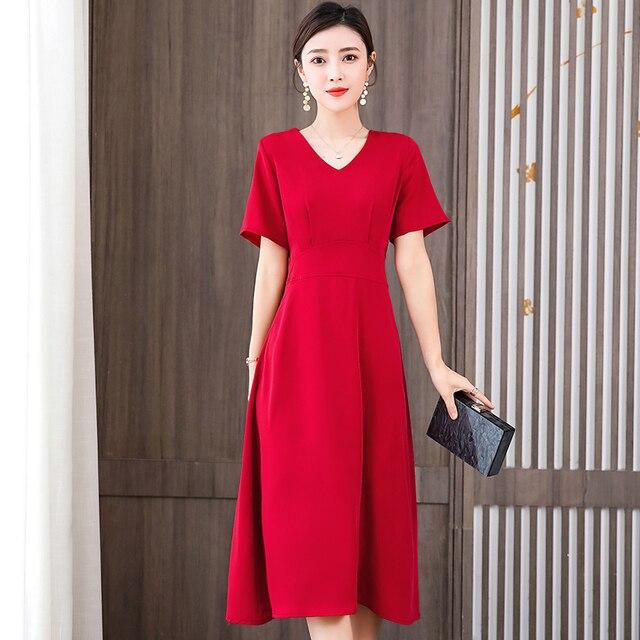 Women Elegant Red Dress New Ladies Short Sleeve V-Neck Slim Summer Dress Female Vestidos New Women'S Clothing 1