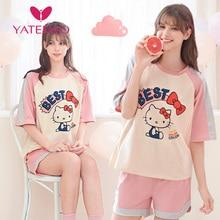 YATEMAO 2PCS/set  New Breathfeeding Pajama Set Maternity Clothes Pregnancy Pyjama Short Sleeve Sleepwear Pink