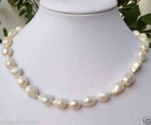 "10-12mm Nanhai Keshi blanco collar de perlas AAA 17"""