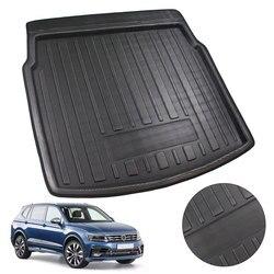 Araba iç kargo astarı önyükleme tepsisi arka bagaj kapağı Mat Mat zemin halısı için tekme pedi Volkswagen VW Tiguan 2017 için 2018 2019