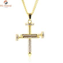New Religious Nail Cross Necklace Gold Silver Black Stainless Steel Jesus Christ Pendants for Men Women Christian Prayer Jewelry