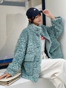 Image 2 - AYUNSUE Real Fur Coat Female Sheep Shearling Autumn Winter Jacket Women 100% Wool Coat Korean Pink Jackets Manteau Femme SGT 007