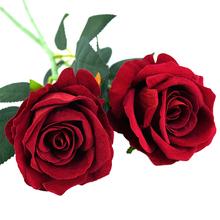 1 2 sztuk prawdziwy dotyk sztuczny kwiat biały czerwony realistyczne Rose sztuczny kwiat jedwabna róża DIY bukiet ślubne urodziny dekoracje na domowe przyjęcie tanie tanio CYZIWEI Artificial Flowers Rose 21523 Sztuczne Kwiaty Bukiet kwiatów Ślub Velvet fake flowers high quality artificial flowers