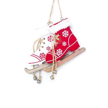1pc Wooden Sleds Boots Snowflake Pattern Christmas Xmas Tree Hanging Pendant random color image