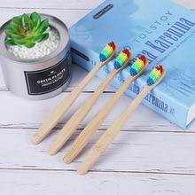 Напрямую от производителя распродажа бамбуковая зубная щетка дорожная мягкая Щетинная зубная щетка Радужная цветная щетина Amazon бамбуковая зубная щетка OEM